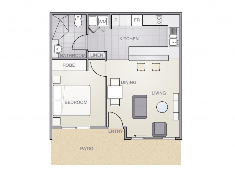 Unique 1 Bedroom Unit in Secure Seniors Community