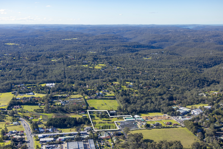 Aerial photo of Living Choice's site for a new retirement community at Dural