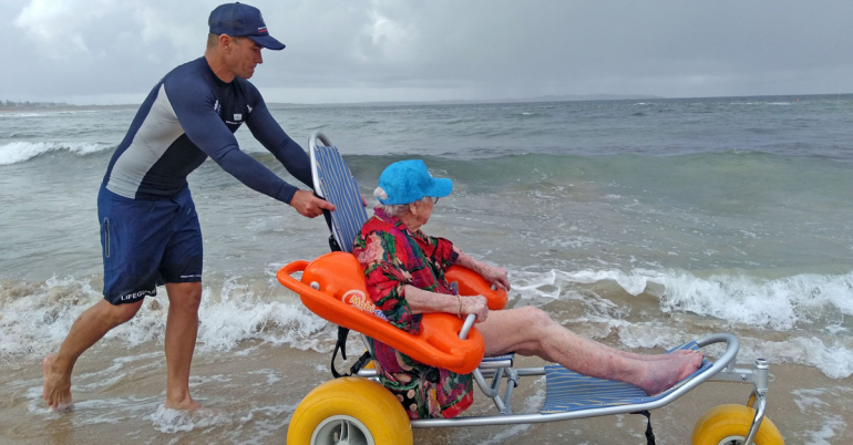 Southern Cross Care resident Edna Petfield returning to her happy place