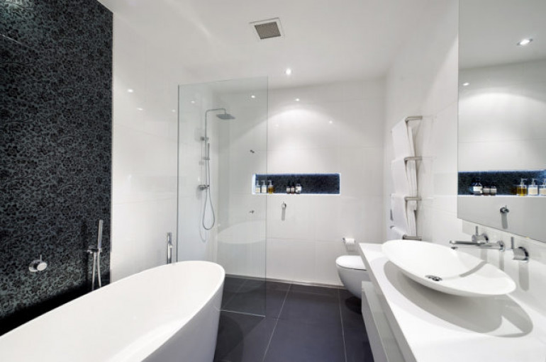 A hobless shower and safe bathroom is an essential feature of an accessible home