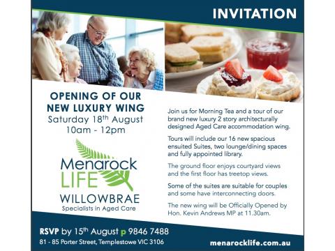 Menarock Willowbrae - Grand Opening & Morning Tea