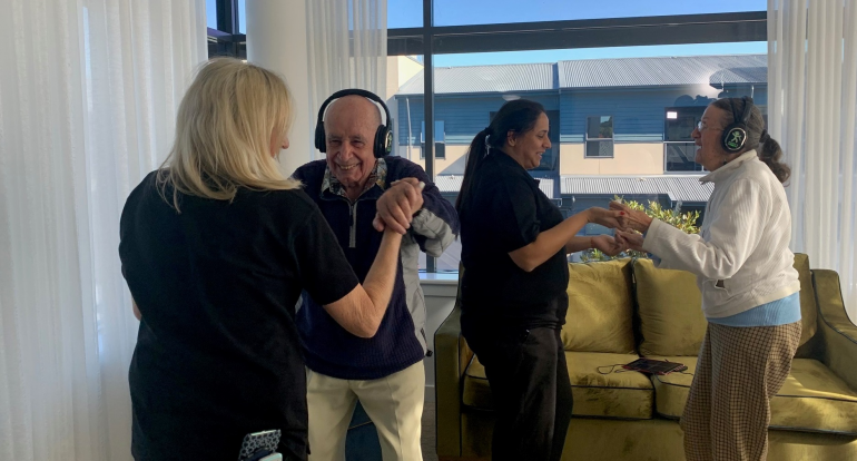 Residents and staff enjoy the Moove and Groove program at Uniting Marion in inner-Sydney