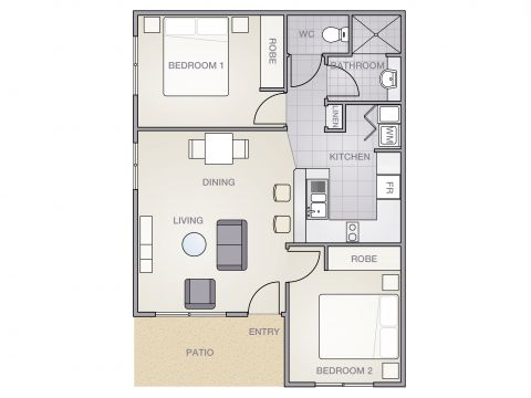 Unique 2 Bedroom Unit in Secure Seniors Community