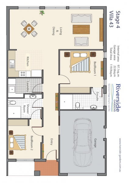 Riverside Gardens -Villa 43   A 2 Bedroom Villa with 2 Bathrooms
