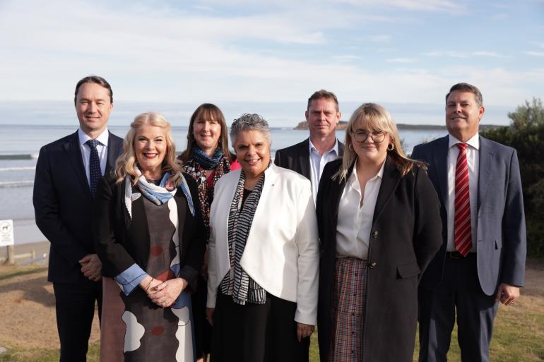 Deborah Cheetam (wearing white jacket) at the Ryman Healthcare Ocean Grove naming ceremony on 7 July