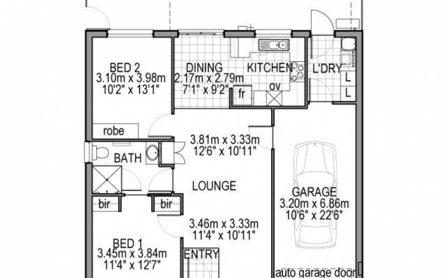 2 bedroom attached garage.  Just Perfect.