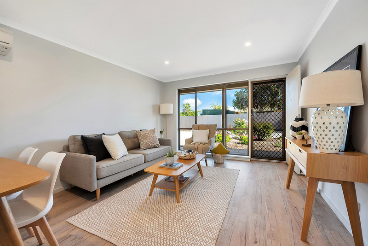 Secluded unit with open plan living