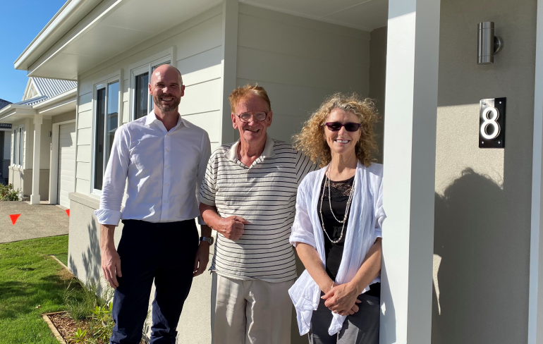 Andrew Ralph from Land Lease Home Loans, Sharon Manson from Ingenia Lifestyle and client Ross Hale at Ingenia Lifestyle Hervey Bay