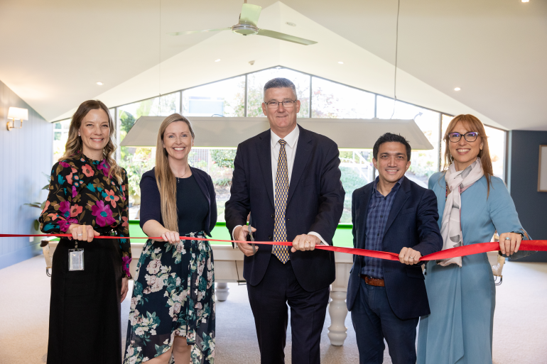 Kirrilly Lord, Michelle Steedman, Mark Taylor MP, Nigel Howe and Marion Iraninejad at the Winston Hills community centre opening