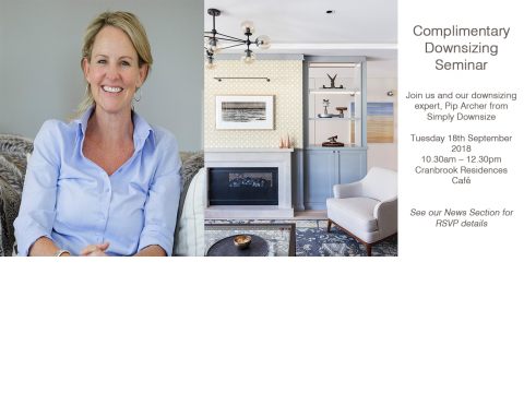 Complimentary Downsizing Seminar Tuesday 18th September