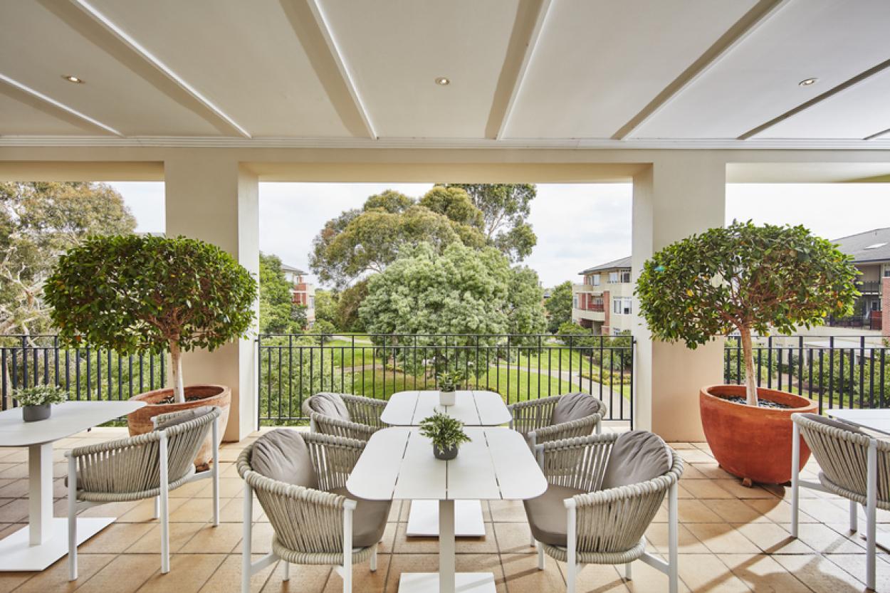 Spacious east facing terrace level home with garden views