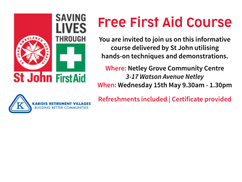Free First Aid Course for over 55s