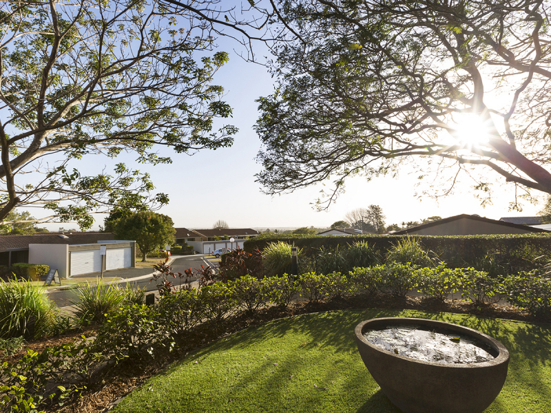 Look out to your own beautiful landscaped backyard