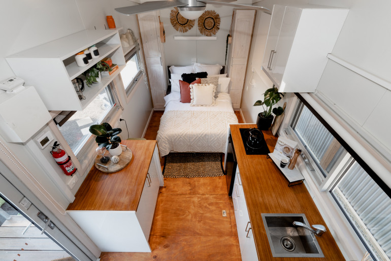 Downsizing You'll need to consider what you can live without in a tiny house. Credit Supplied by Tiny House Solutions