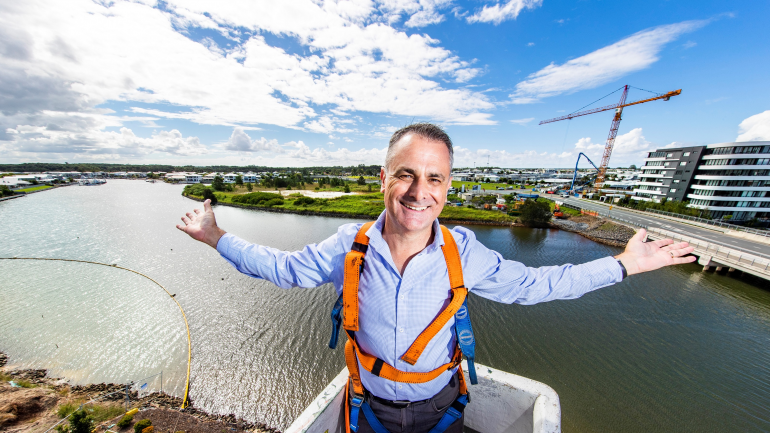 Reside Communities CEO Glen Brown admires the view from eight storeys up at  Esperance Hope Island