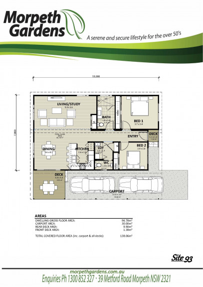 Morpeth Gardens 2 Bed 1 Bath second toilet. large sunny deck
