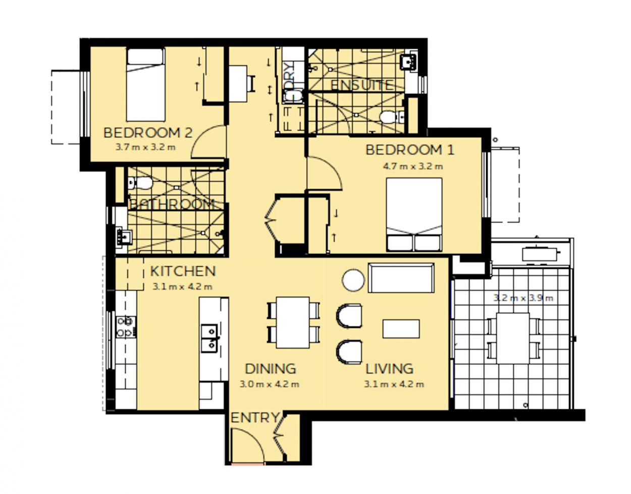 East Facing 2 bedroom | 2 bathroom beauty