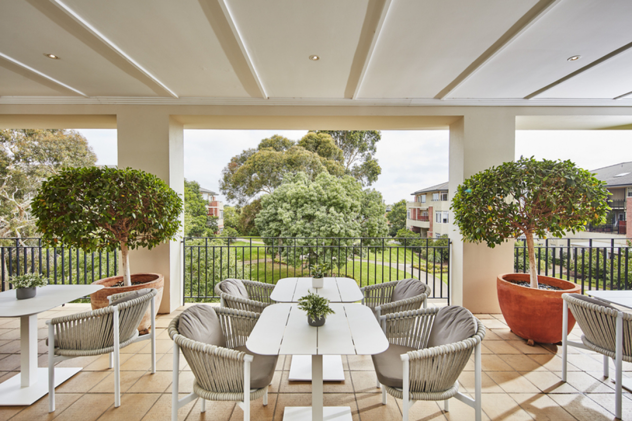 East Facing Terrace Level Home with Garden Views