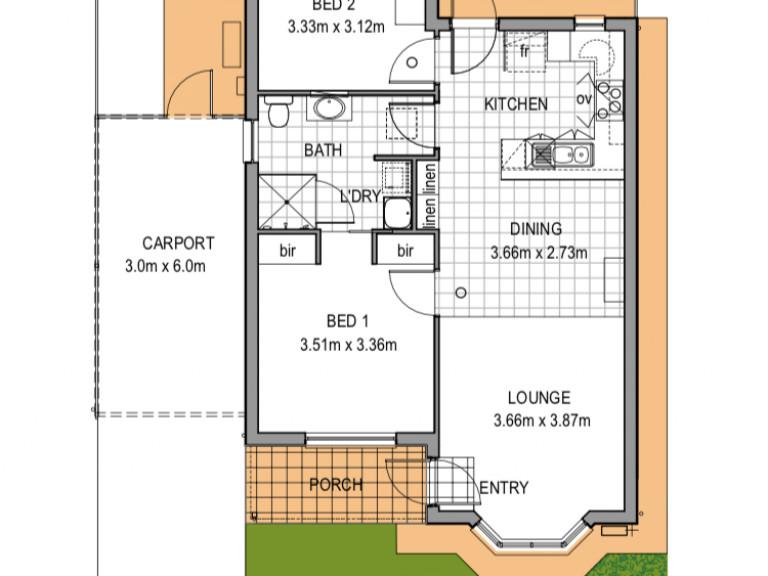2 bedroom plus carport.  Just Perfect