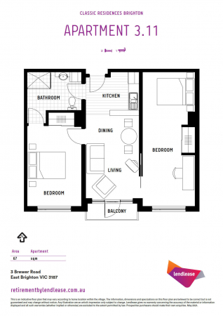 Spacious third floor apartment with private balcony