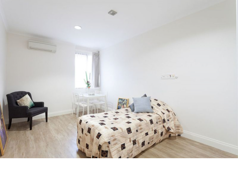 Refurbished serviced apartment in quiet, tranquil setting. We'll take care of the cooking and cleaning!