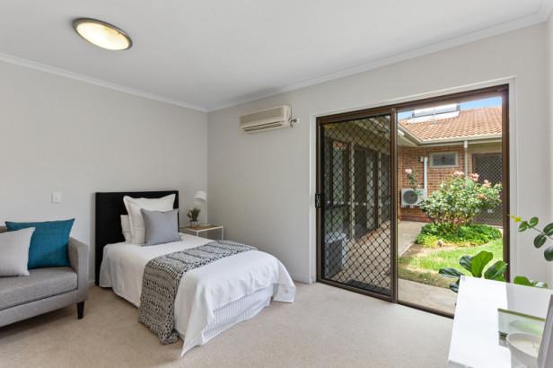 Refurbished unit with garden views