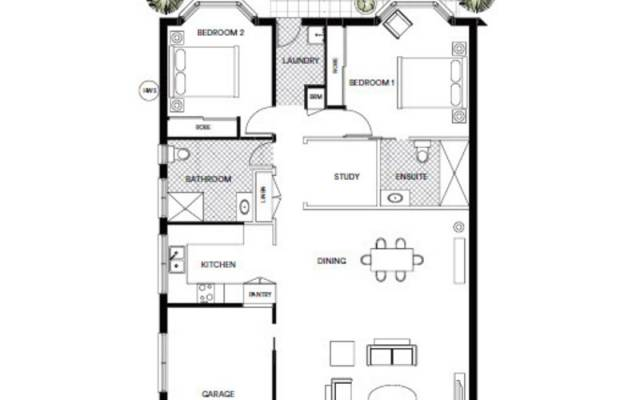 Fabulously designed two-bedroom home, with ensuite and study